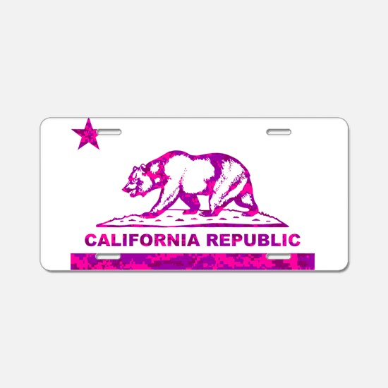 california bear camo pink Aluminum License Plate