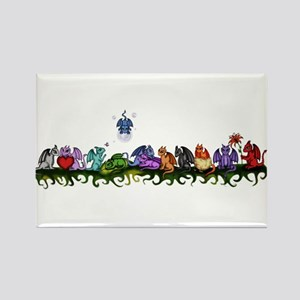 many cute Dragons Rectangle Magnet
