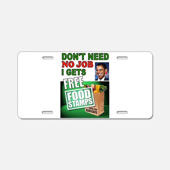 FREE FOOD STAMPS Aluminum License Plate