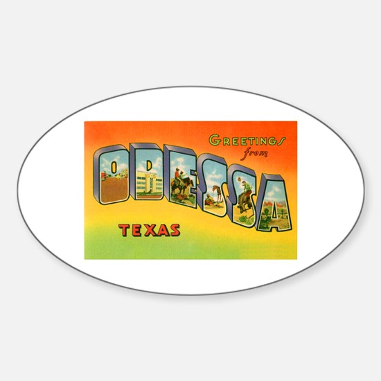 Odessa Texas Greetings Oval Decal