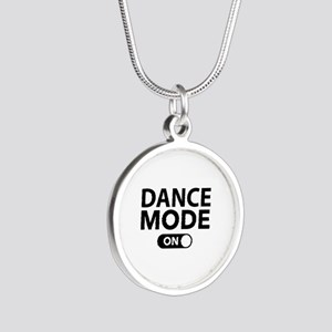 Dance Mode On Silver Round Necklace