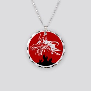 Red Sun Dragon Necklace Circle Charm