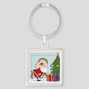 funny santa bit by dog Square Keychain