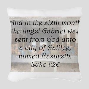 Luke 1:26 Woven Throw Pillow