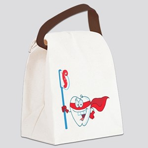superhero tooth with toothbrush Canvas Lunch Bag