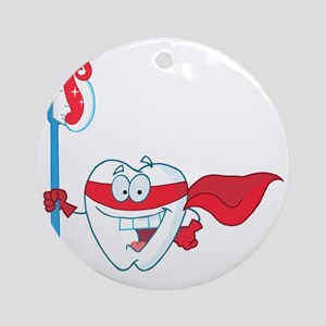 superhero tooth with toothbrush Round Ornament