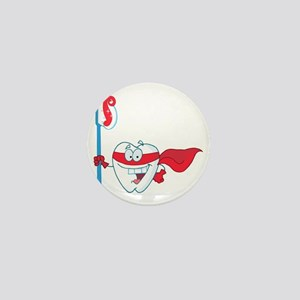 superhero tooth with toothbrush Mini Button