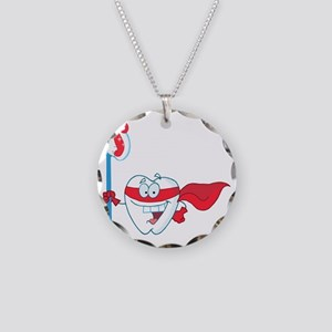 superhero tooth with toothbr Necklace Circle Charm