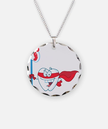 superhero tooth with toothbr Necklace