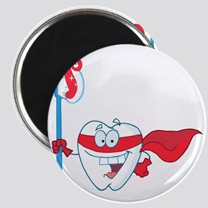superhero tooth with toothbrush Magnet