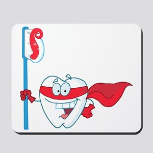 superhero tooth with toothbrush Mousepad