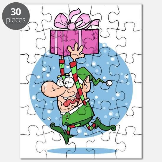 funny xmas elf running with present Puzzle