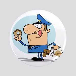 """funny cop with donuts cartoon 3.5"""" Button"""