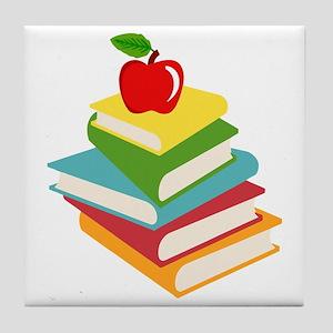 books and apple school design Tile Coaster