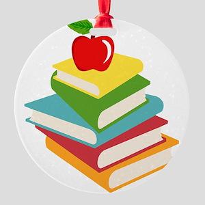 books and apple school design Round Ornament