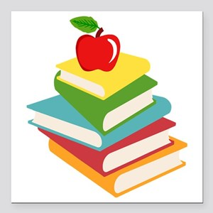 """books and apple school d Square Car Magnet 3"""" x 3"""""""