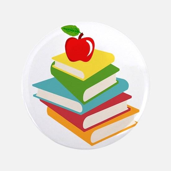 """books and apple school design 3.5"""" Button"""