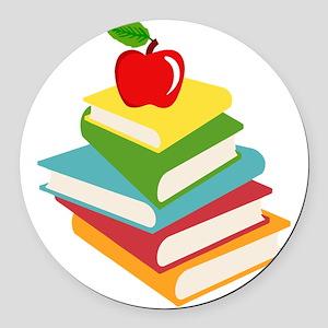 books and apple school design Round Car Magnet