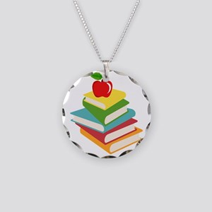 books and apple school desig Necklace Circle Charm