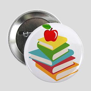 """books and apple school design 2.25"""" Button"""