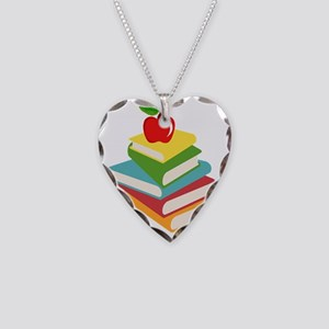 books and apple school design Necklace Heart Charm