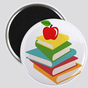 books and apple school design Magnet