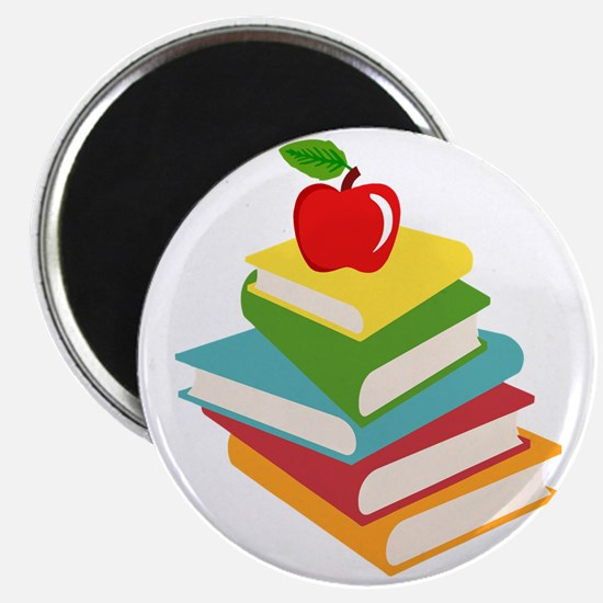 books and apple school design Magnet