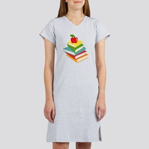 books and apple school design Women's Nightshirt