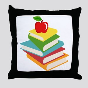 books and apple school design Throw Pillow