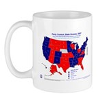 State House Control, 2007 State Map Mug-Red