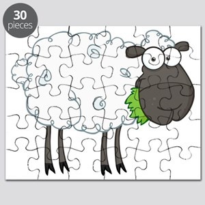 cute white sheep with black face Puzzle