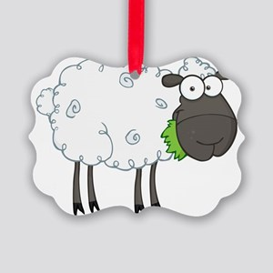 cute white sheep with black face Picture Ornament
