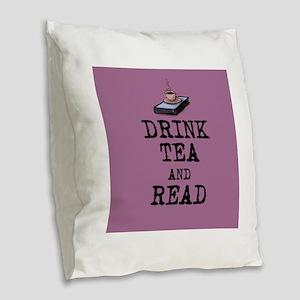 Drink Tea and Read Burlap Throw Pillow