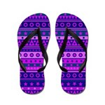 Purple Stripy Stars and Spots Pattern Flip Flops