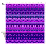 Purple Stripy Stars and Spots Pattern Shower Curta