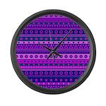 Purple Stripy Stars and Spots Pattern Large Wall C