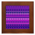 Purple Stripy Stars and Spots Pattern Framed Tile