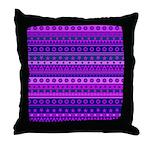 Purple Stripy Stars and Spots Pattern Throw Pillow