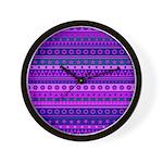 Purple Stripy Stars and Spots Pattern Wall Clock