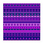 Purple Stripy Stars and Spots Pattern Tile Coaster