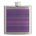 Purple Stripy Stars and Spots Pattern Flask