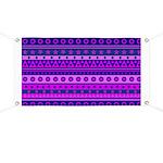 Purple Stripy Stars and Spots Pattern Banner