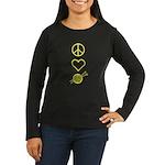 Peace Love Knit Women's Long Sleeve Dark T-Shirt