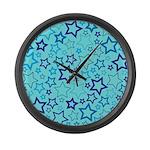 Blue Stars Large Wall Clock