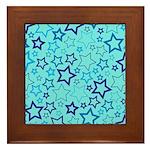Blue Stars Framed Tile