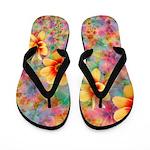Hippie Psychedelic Flower Pattern Flip Flops