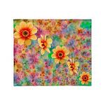 Hippie Psychedelic Flower Pattern Throw Blanket