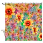 Hippie Psychedelic Flower Pattern Shower Curtain