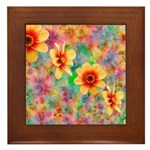 Hippie Psychedelic Flower Pattern Framed Tile
