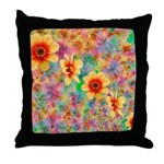 Hippie Psychedelic Flower Pattern Throw Pillow